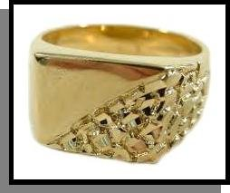 Half Nugget Design Mens Ring