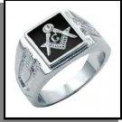 Rhodium With Black Freemason Ring