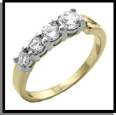 Four Russian CZ Gold And Rhodium Wedding Band