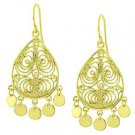 Sterling Silver Filigree Disc Chandelier Earrings