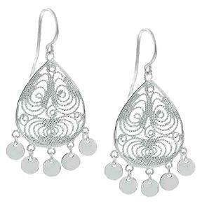 """""""Shimmering Splendor""""  Sterling Silver Filigree Disc Chandelier Earrings"""