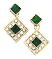 Russian CZ Emerald Dangle Earrings