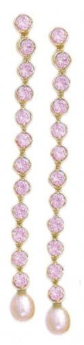 Glittering Pink Russian CZ Earrings Guaranteed
