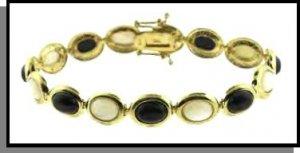 18 Karat Gold Over Sterling Silver Genuine Mother Of Pearl & Onyx Stone Bracelet