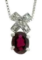 Genuine Garnet And Genuine Diamond Pendant