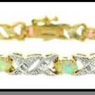 Gold Over Sterling Silver Lab Opal  & Diamond Accent Bracelet