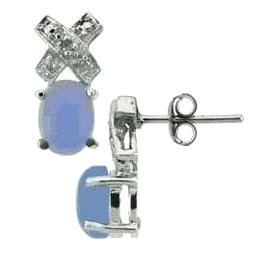 Genuine Chalcedony And Genuine Diamond Earrings