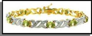 Genuine Peridot & Diamond Accent Bracelet