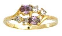 February Amehyst Russian CZ Birthstone Ring