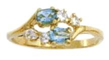 March Birhstone Ring Aquamarine Russian CZ