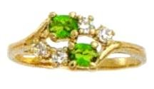 August  Peridot Russian CZ Birthstone Ring