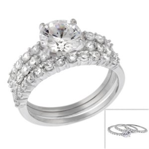 Sterling Silver 3 Ring Wedding Set Size Choice