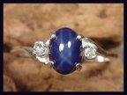 Star Sapphire 8x6 Accented By White Topaz .925 Sterling Silver Ring