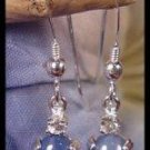 Star Sapphire 8x6 French Wire Sterling Silver Earrings with White Topaz Accents