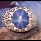 Mens Star Sapphire Donella Sterling Silver Ring 12x10 (5cts)