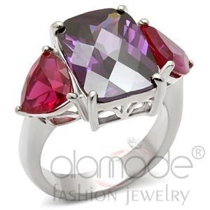 Sterling Silver Amethyst Garnet Ring