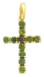 AAA Russian Emerald CZ Cross Pendant Lifetime Guaranteed