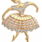 Ballerina Pin in 14K Gold with CZ Accents
