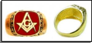 Scroll Design Red Freemason Masonic Ring
