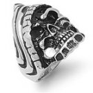 Stainless Steel Biker Unibomber Skull Ring Size Choice