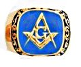 Scroll Design Blue Freemason Masonic Ring