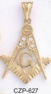 Gold Layered Freemason Masonic Pendant with CZs
