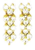 12 Stone Russian CZ Sparkling Dangle Earrings