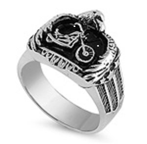 Motorcycle and Eagle Biker Stainless Steel Ring
