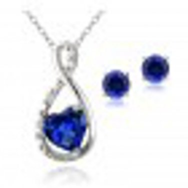 Sterling Silver Created Sapphire & Diamond Accent Infinity Heart Pendant and Stud Earrings Set