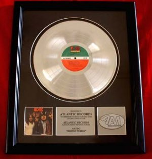 """AC/DC PLATINUM RECORD AWARD """"HIGHWAY TO HELL"""""""