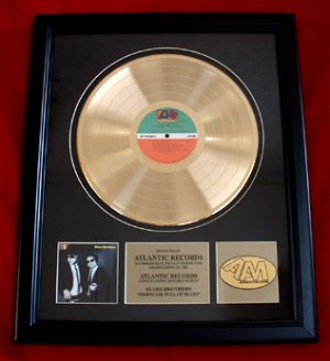 "BLUES BROTHERS GOLD RECORD AWARD ""BRIEFCASE FULL OF BLUES"""