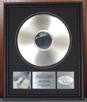 "MICHAEL JACKSON PLATINUM RECORD AWARD ""THRILLER"""