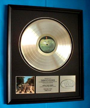 "THE BEATLES PLATINUM RECORD AWARD "" ABBEY ROAD"""