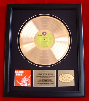 GRAND FUNK RAILROAD GOLD RECORD AWARD