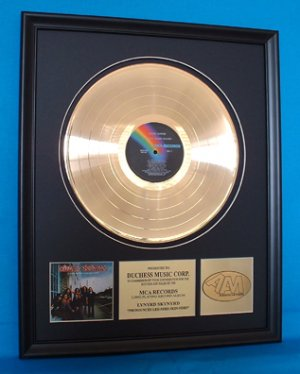 """LYNYRD SKYNYRD GOLD RECORD AWARD """"PRONOUNCED"""""""