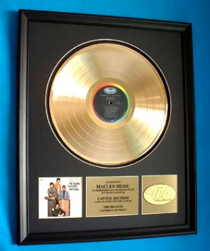 """THE BEATLES GOLD RECORD AWARD """"YESTERDAY AND TODAY"""""""
