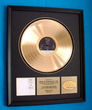 """PINK FLOYD GOLD RCORD AWARD """"THE WALL"""""""