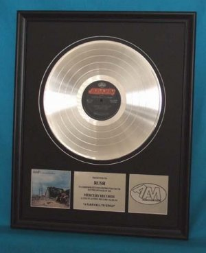 "RUSH PLATINUM RECORD AWARD ""FAREWELL TO KINGS"""