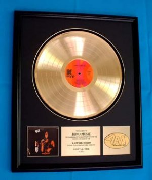 "SONNY & CHER ""LIVE"" GOLD RECORD AWARD"