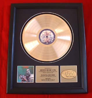 """QUEEN GOLD RECORD AWARD """"NEWS OF THE WORLD"""""""