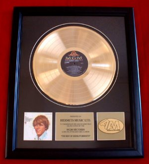 HERMAN'S HERMITS GOLD RECORD AWARD