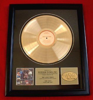 """THE WHO GOLD RECORD AWARD """"WHO ARE YOU"""""""