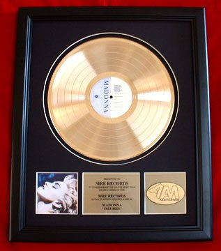 "MADONNA GOLD RECORD AWARD ""TRUE BLUE"""