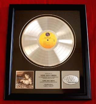 "MADONNA PLATINUM RECORD AWARD ""LIKE A VIRGIN"" #P10"