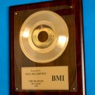 PAUL McCARTNEY - THE BEATLES GOLD 45 RECORD AWARD