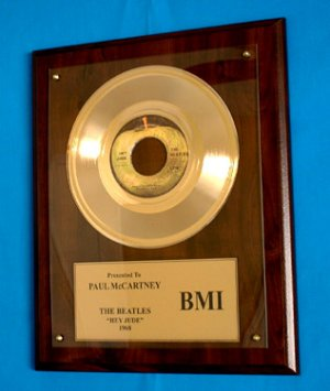 PAUL McCARTNEY - THE BEATLES GOLD 45 RECORD AWARD
