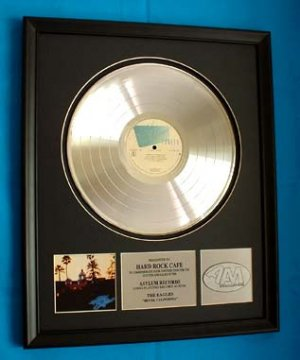 "THE EAGLES PLATINUM RECORD AWARD ""HOTEL CALIFORNIA"""