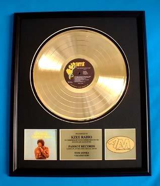 TOM JONES GOLD RECORD AWARD - GREATEST HITS