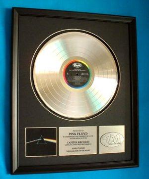 "PINK FLOYD PLATINUM RECORD AWARD ""DARK SIDE OF THE MOON"""