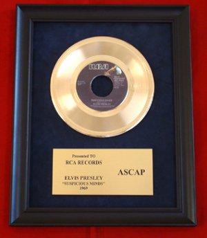 "ELVIS PRESLEY VINTAGE GOLD 45 RECORD AWARD ""SUSPICIOUS MINDS"" """